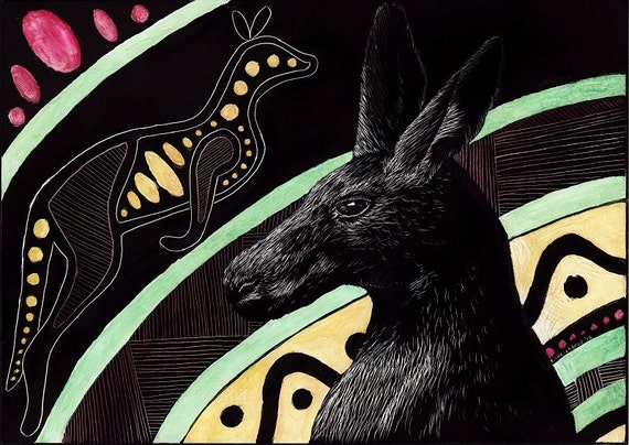Tribal Kangaroo Original Scratchboard And Watercolor