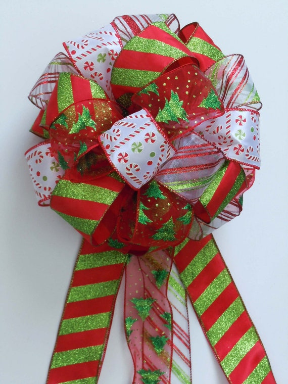 Items similar to Christmas Bow Tree Topper Bow Candy Cane ...