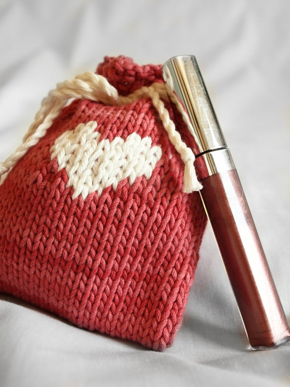 Pink and White Heart knit pouch