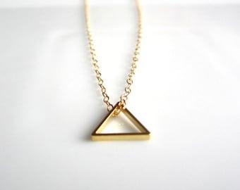 Tiny Triangle Necklace, gold triangle necklace, geometric necklace, geometric jewelry, minimalist jewelry