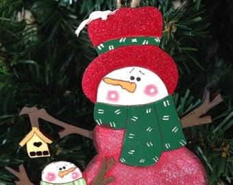 Snowmen Handpainted Wooden Christmas Tree Decoration