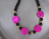 Hot Pink Shell and Black Beaded Necklace