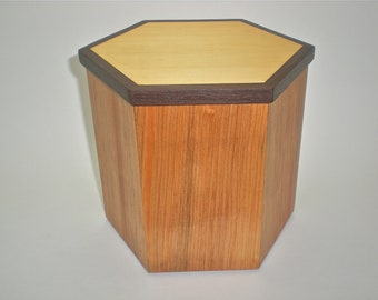 Wooden Box Six Sided with Alaskan Yellow Cedar, Alder wood and California Walnut handmade by Father on the Mountain