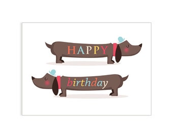 Birthday Sausages greeting card- dog card - card for dog lover  - card for dachshund lover - dachshund card