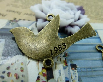 10PCS antique bronze 26x40mm dove charm connector- WC1462