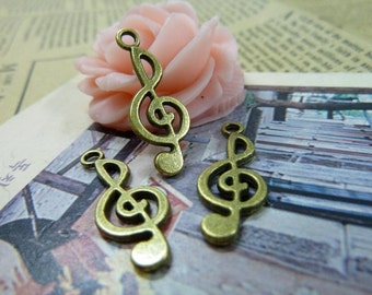 30PCS antique bronze 10x26mm music note charm pendant- WC1107