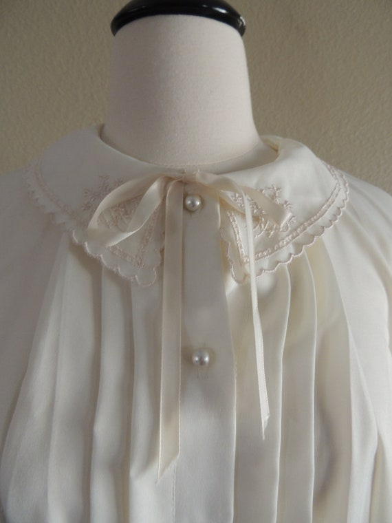 Vintage Ivory Blouse with Faux Pearl Buttons and Tie Neck by Rio Size Small Reserved Do Not Purchase