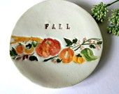 Fall Ceramic Dish Pumpkins Pottery Small Plate Autumn Leaves and Letters - Ceraminic