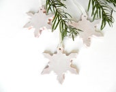Snowflake Pottery Rustic Decoration White Eco Friendly Ceramic Ornament Set of 3 Wedding Gift - Ceraminic