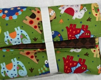 Dinosaurs on Green Diaper Changing Clutch