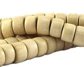50 pc Nature wood disc beads 10x6 mm  Whitewood