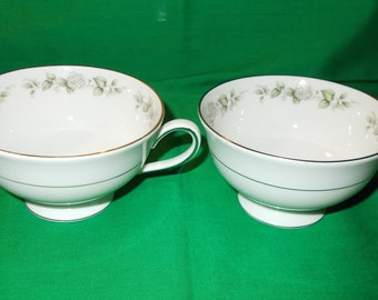 Two (2), Footed Porcelain Tea Cups from Franconia-Krautheim, in the Cindy Pattern
