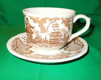 One (1), Flat Tea Cup & Saucer, from Alfred Meakin, in the Fair Winds Brown Pattern