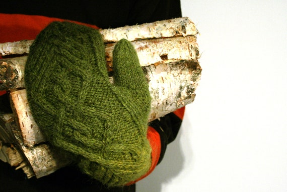 Wool mittens for men, gloves, forest green, READY TO SHIP