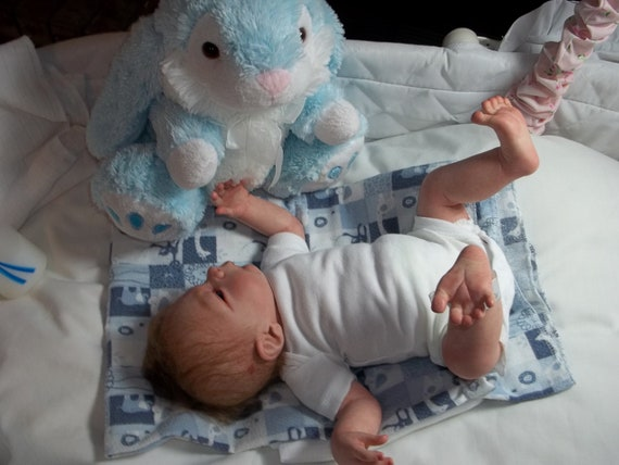 Reborn Preemie Baby Boy Jonah by Artist Rhonda Bartley the Drew sculpt by Heather Boneham