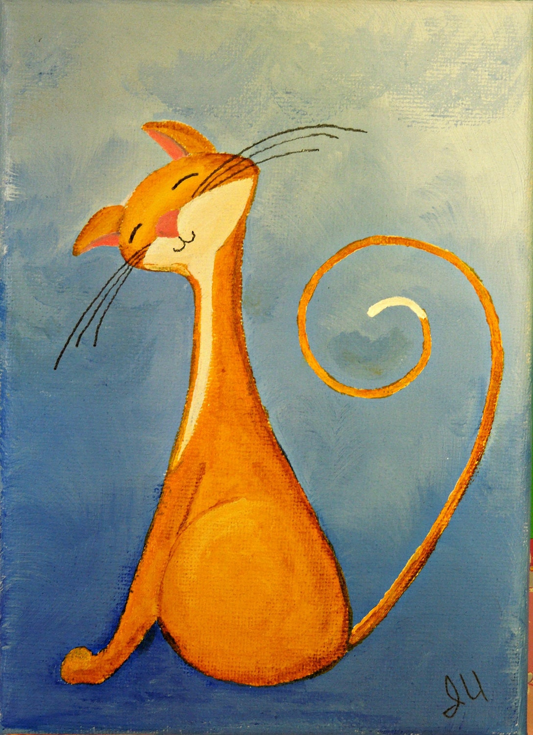 Original cat painting for sale fantasy cats flirty for Cat paintings on canvas