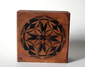 contemplative hand drawn mandala wood box