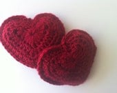 Crocheted Heart Pocket Warmers - Red