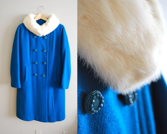 Teal Totter - Vintage 1950s White Mink Collar Bright Blue Wool SWING Coat