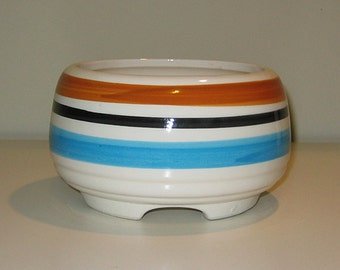 Vintage Striped Pot, Teal and Rust Stripes on White Ceramic