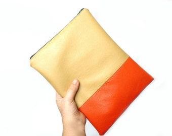Leather iPad case, iPad sleeve, iPad cover,iPad mini case, iPad mini cover ,Tan and  bright orange, Color block