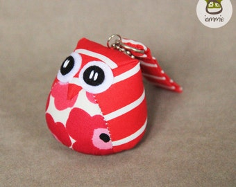 Salmon - Cute Owl Doll with a Bag: plush, owl decor, orange, flower, stripe, little, mini, kid, owl decoration, kawaii, animal, bird