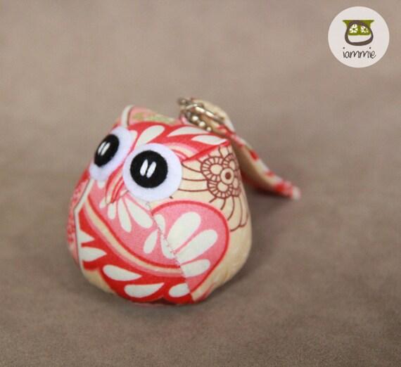 Yuna - Owl Doll with a Bag: plush, owl plush, children, kid, cute, kawaii, baby, boy, girl, kid, grey, gray, pink, keychain, charm