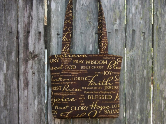 New Handmade Small (MTO) Religious, Faith, Hope, Christian Tote Bag / Purse
