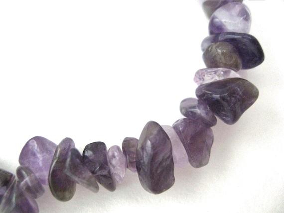 Amethyst Bracelet semiprecious gemstone chip handmade stretch bracelet