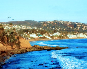 Late Afternoon Surfer Laguna Beach 11 by 14 Canvas
