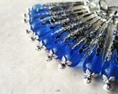 Sapphire Blue Earrings, Ornate Filigree Cone Earrings. Victorian Jewelry, Czech Glass Earrings. Long Silver Jewellery DA3 VFC.