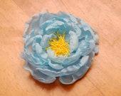Baby Blue Chiffon Poppy Peony Fabric Flower