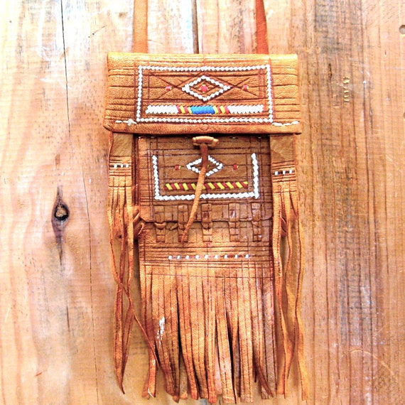Tribal Leather Fringe // Tooled // Embroidered Medicine Bag  - Crystal Keeper