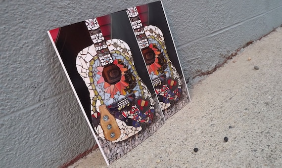 Oversized art postcard set, Guitar Art, Home Decor, Mosaic Guitar, Guitar Photo