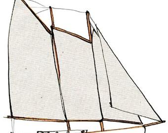 Schooner Imagine: ship print / nautical illustration