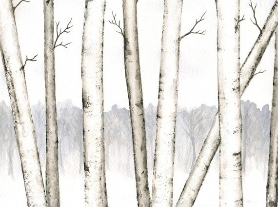 """Winter Landscape Painting, Original Birch Trees Watercolor, Winter Trees Art, Winter Birch Forest, Snow, Black and White Watercolor 8"""" X 10"""""""