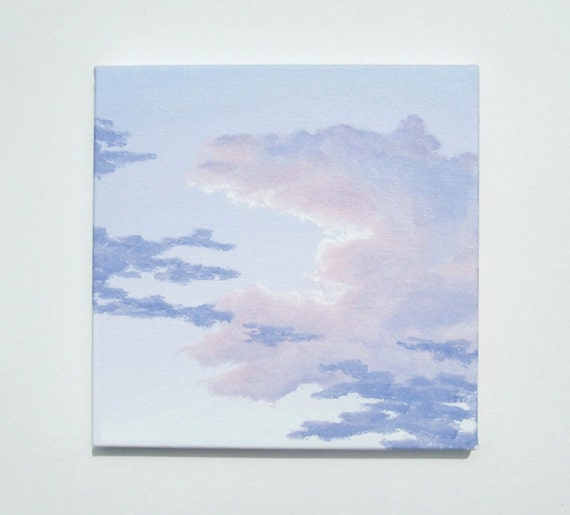 """Sunrise Sky Painting, Original Skyscape Fine Art, Pink Clouds, Sky and Clouds Painting, Lavender Clouds Art, Morning Sky, Acrylic, 10"""" X 10"""""""