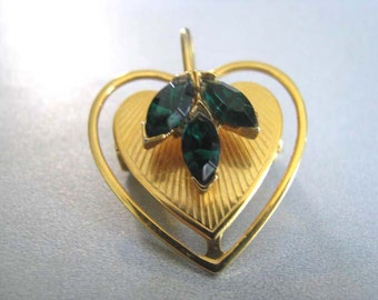 Vintage Emerald Green Brooch - Goldtone Heart Brooch - Leaf Brooch