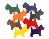 Dog crayons, set of 8, non toxic kids gift, Scotty dog