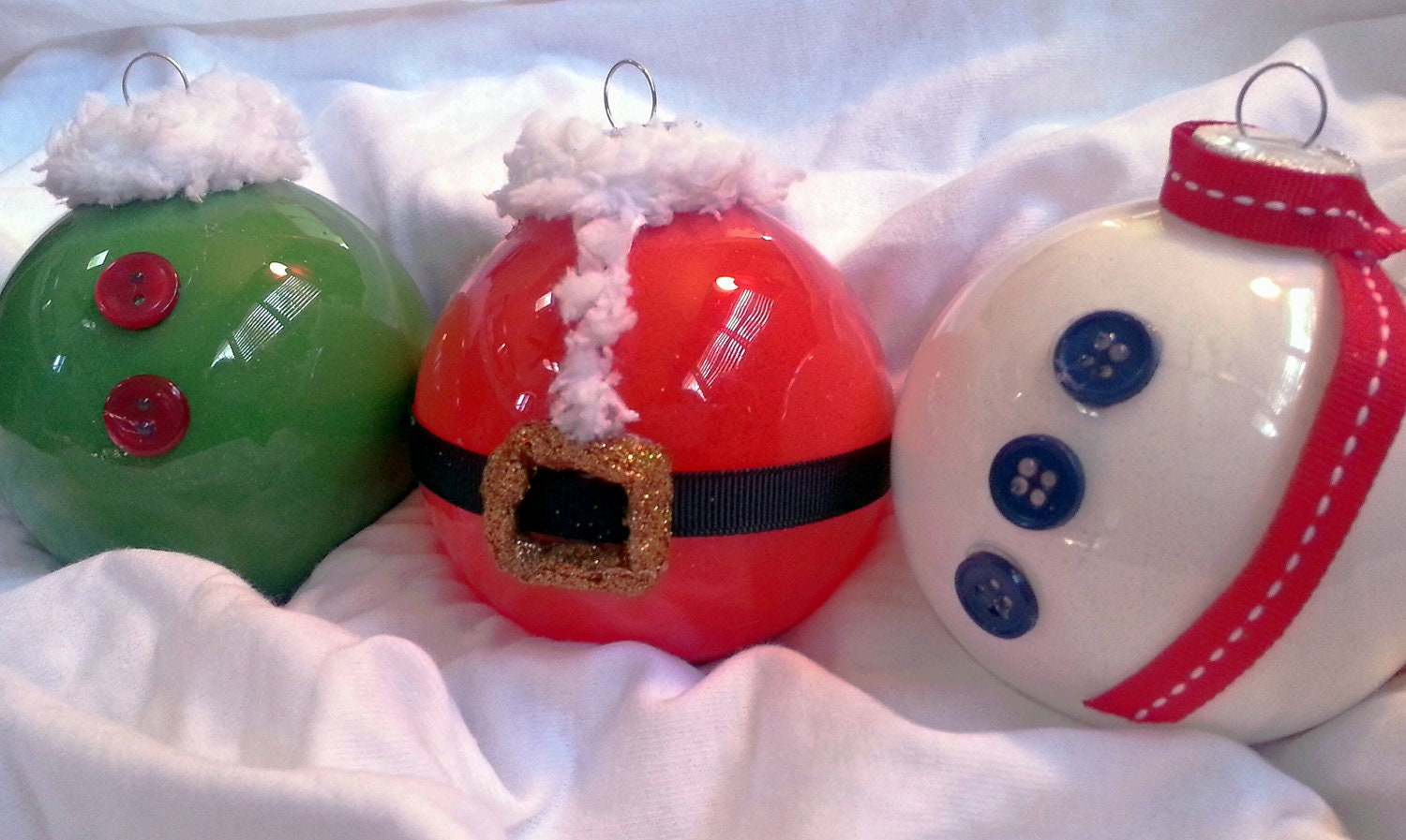 Christmas Ornaments Glass Balls Handmade : Glass holiday ornaments set of by creativeelementsart on