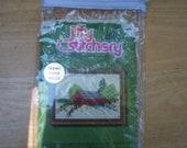 Vintage Jiffy Stitchery kit with covered bridge