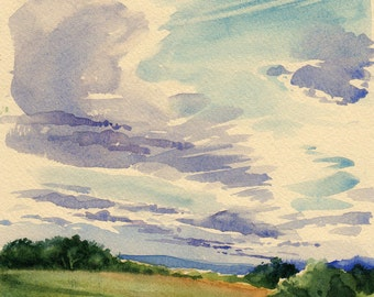 Late Afternoon Clouds -Print of original watercolor