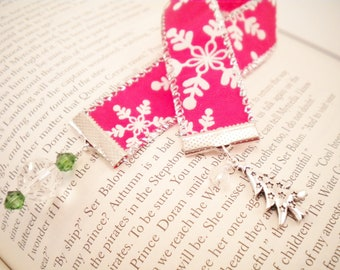 Christmas Tree Ribbon Bookmark with Snowflakes, Stocking Stuffers, Holiday Gift, Gifts Under 10
