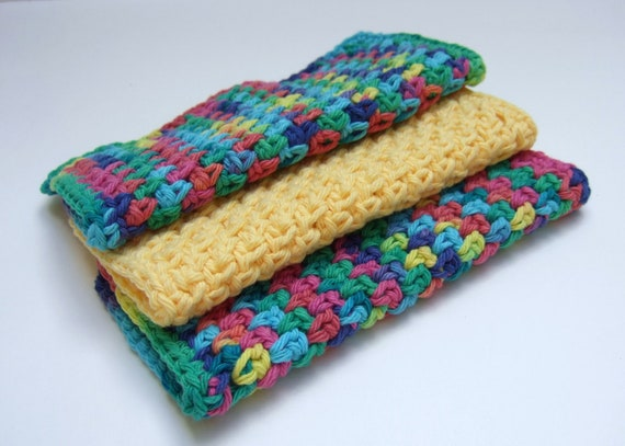 Dishcloths - Multi-Color and Yellow- Crochet- Cotton- Set of 3