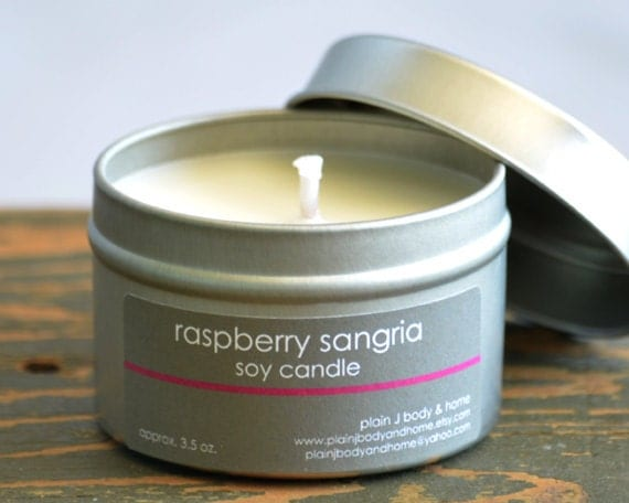Raspberry Sangria Soy Candle Tin 4 oz. - fruity wine scented soy candle
