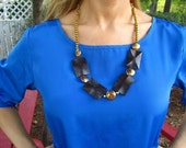 Wood and Copper Statement Necklace
