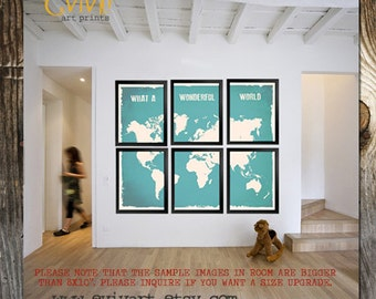 World Map Wall decor Inspiration quote What a Wonderful Split World Map Print Six Prints Sky turquoise