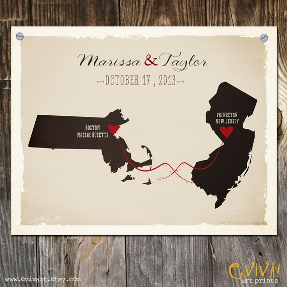 Custom Wedding Print Destination Wedding Gift  Memento Marriage Couple print Signature Guest Books USA States Map Wedding Signature Map