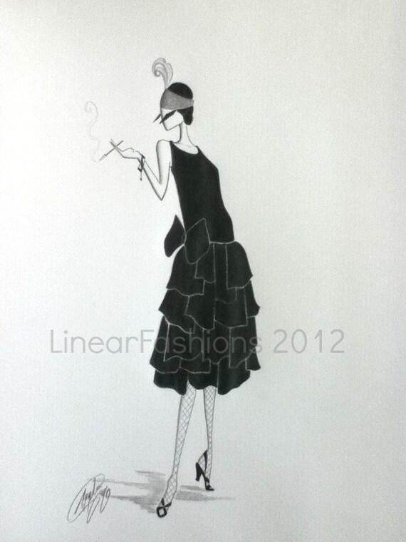 Fashion Illustration 1920s Flapper Art Deco Decor
