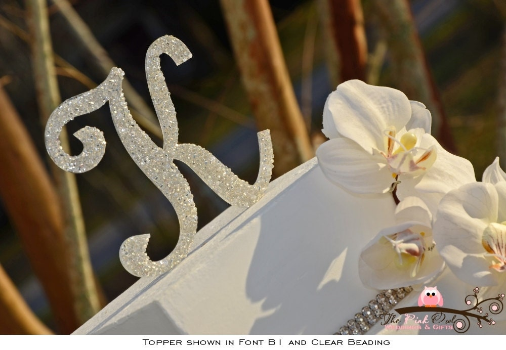 Beaded Monogram Wedding Cake Topper 6 Inch Personalized With
